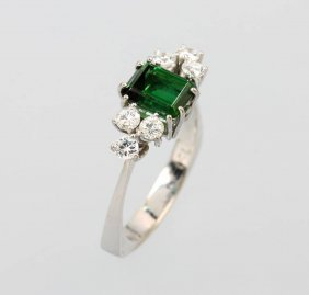 18 Kt Gold Ring With Tourmaline And Brilliants