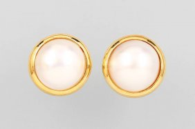 Pair Of 14 Kt Gold Earrings With Cultured Pearls