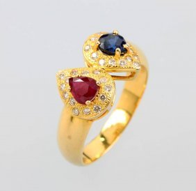 22 Kt Gold Ring With Coloured Stones And Brilliants