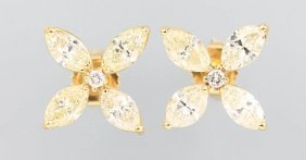 Pair Of 14 Kt Gold Earrings With Diamonds