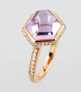18 Kt Gold Ring With Amethyst And Brilliants