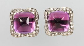 Pair Of 18 Kt Gold Earrings With Amethysts