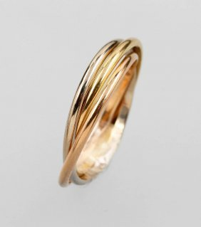 Cartier-trinity Ring, Yg/wg/rg 750/000