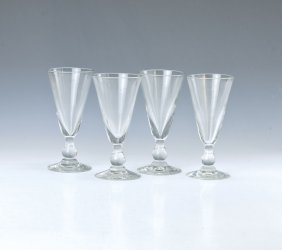 Four Large Absinth Glasses