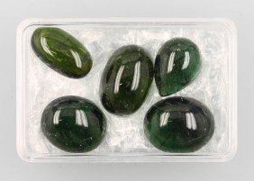 Lot With 5 Green Tourmaline Cabochons, Total Approx