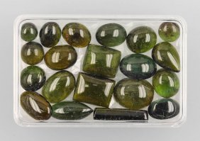 Lot Made Of Green Tourmaline Cabochons Approx.67.16