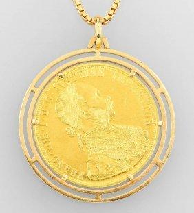 Coin Pendant, 4 Ducats, Austria/hungary