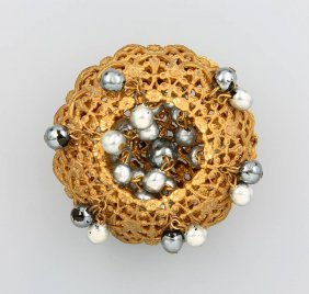 Costume Jewelry Brooch, Miriam Haskell, Usa Approx.