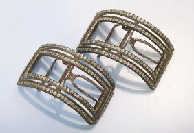 Pair Of Shoe Buckles With Rhine Stones, Germanapprox.