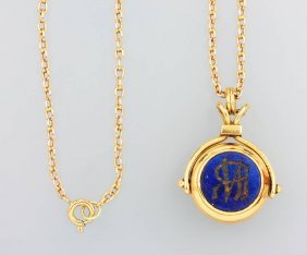 14 Kt Rotary Gold Seal With Lapis Lazuli