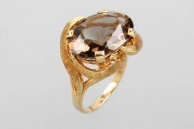 14 Kt Gold Ring With Smoky Quartz