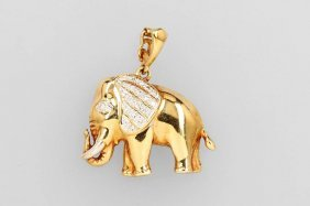14 Kt Gold Pendant With Brilliants, 'elephant'