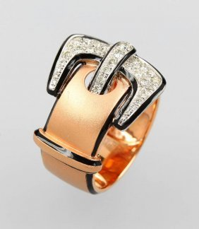 18 Kt Gold Ring 'belt' With Brilliants