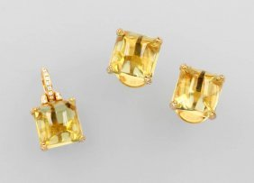 Set Of 18 Kt Gold Jewelry With Lemon Citrines And