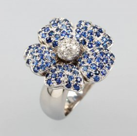 Jacobi Blossom Ring With Sapphires And Brilliants, Wg