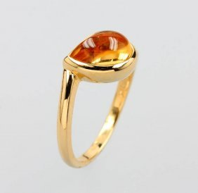 18 Kt Gold Ring With Citrine