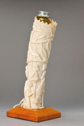 Ivory Carving As Lamp Stand