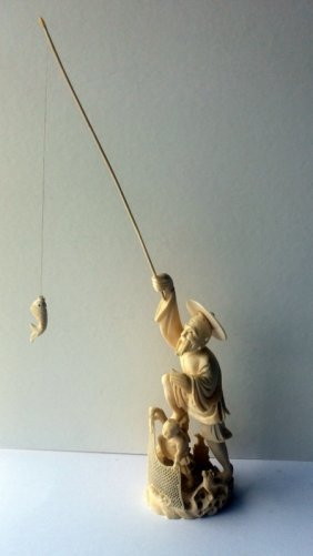 Fisherman, Ivory Carved Sculpture