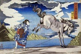 Kuniyoshi - The Strong Woman, Subduing A Wild Horse