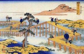 Hokusai - Admiring The Irises At Yatsuhashi In Mikawa
