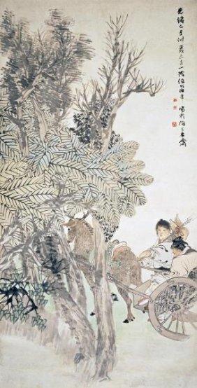 Ren Yi - Deer Pulling A Chariot