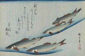 Utagawa Hiroshige (ando) - School Of Five Seat Trout