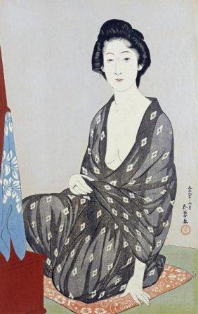 Hashiguchi Goyo - A Beauty In A Black Kimono