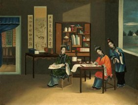 Chinese School - An Interior With A Woman Painting