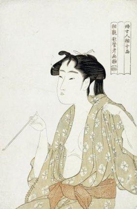 Kitagawa Utamaro - Portrait Of A Woman Smoking