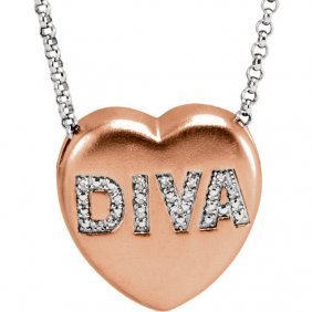 .01 Ctw Diamond Diva Heart Necklace