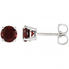 14kt White 5mm Round Mozambique Garnet Earrings
