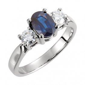 Platinum Sapphire & Diamond Accented Ring