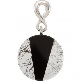 Sterling Silver Tourmalinated Quartz & Onyx Pendant