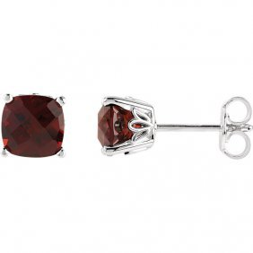 14kt White Mozambique Garnet Earrings
