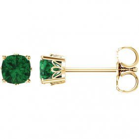 14kt Yellow Chatham Created Emerald Earrings
