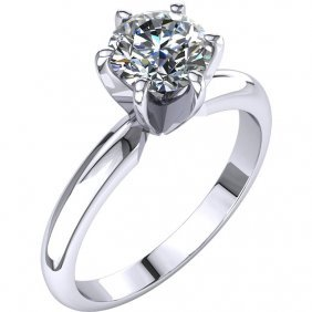 14kt White 1 Ctw Diamond 6-prong Light Solitaire