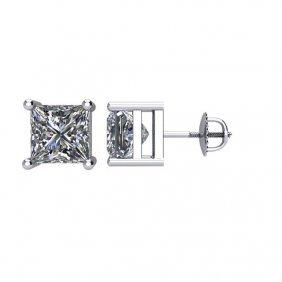 14kt White 2 Ctw Diamond Threaded Post Stud Earrings