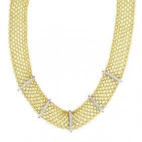 18kt Yellow Mesh Necklace Diamond
