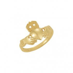 10kt Yellow 12x14mm Ladies Claddagh Ring