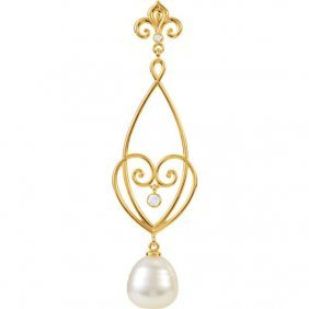 14kt Yellow 1/10 Ctw Diamond & South Sea Cultured Pearl