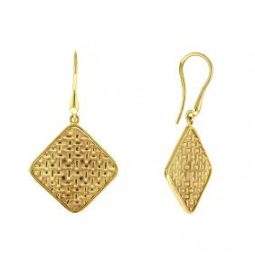 14kt Yellow Square Plaid Earrings