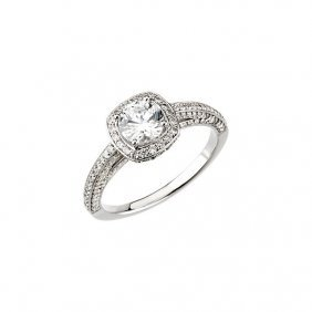 14kt White 3/4 Ctw Diamond Halo-styled Engagement Ring