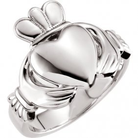14kt White 10.5mm Claddagh Ring Size 7