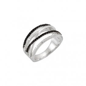 Black Spinel & Diamond Criss-cross Ring