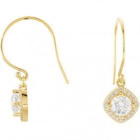 14kt Yellow 1 1/3 Ctw Diamond Earrings
