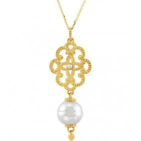 14kt Yellow Granulated Design South Sea Cultured Pearl