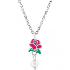 Sterling Silver Belle Enamel Rose & Freshwater Cultured