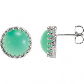 Sterling Silver 10mm Round Chrysoprase Earrings