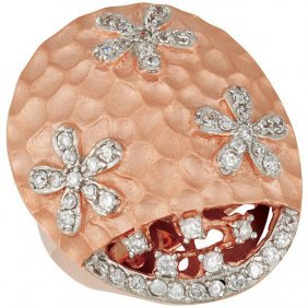 Sterling Silver 14kt Rose Plated Cubic Zirconia Ring