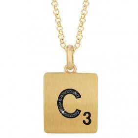 Gold Plated Sterling Silver .04 Ctw Black Diamond